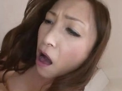 Japanese milf rides until she acquires cum filled pussy