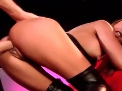 Sexy leather boots on Oriental cock whore