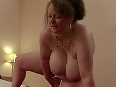 Wide-ranging titted German girls housewife playing with their way toys