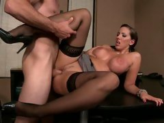 Kelly Divine widening her legs for a worthwhile office fuck