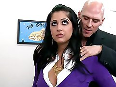 Super Busty Dark hair Office Floozy Kimber Kay Gets Screwed and Facialized