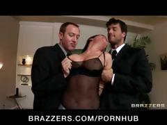 Wicked brunette Tory Lane is busted with sex toys and gets her face drilled hard in a gangbanged