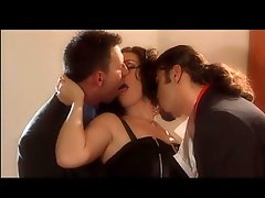 Smoking Brunette IN A Threesome With 2 Large Dicks