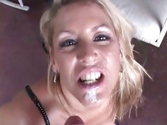 Bewitching Chelsea Zinn acquires her face splattered with cum