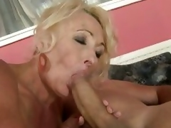 Nasty grandma gets her face hole stuffed with cock