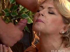 Non-professional Mature wench in red underware fucks a much younger stud