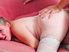 Tattooed GILF receives her constricted anal cavity fuck by younger man...