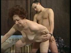 From Germany dark hair granny gets a younger cock to screw her brutal fucking