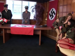 Nazi chicks get fucked nearby the office of their commanding officer