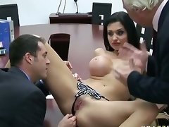 Office Carnal acquaintanceship With Large Titted Aletta Bounding main