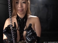 Mesmerizing Asian reverse cowgirl in a leather corset gives a blowjob then gets fucked doggy style