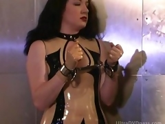 Submissive Anna Valentina Thongs Herself Back in a Sexy Latex Outfit