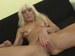 Blench blonde mature whore strips for our pleasure