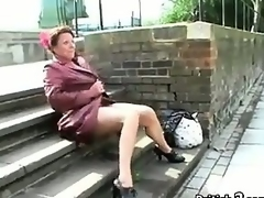 Grown-up British Woman Pissing In Public