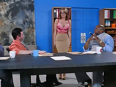 Impressive interracial gang bang session with a in trouble blondie