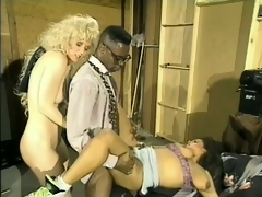 Old trainer video of a pair of white bitches taking a huge black cock
