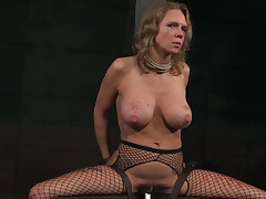 Broken blond mature nipper pounded with a fuck device