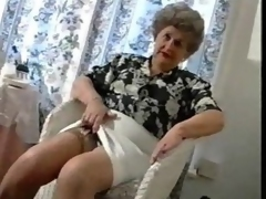 Chaffing Old Granny In Stockings