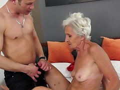 A granny is object their way pussy stretched unlocked by a young load of shit