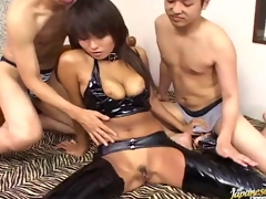 Hot Asian honey respecting leather underclothing gets double penetration respecting a full of get-up-and-go mmf trine