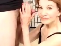 Hellacious granny Gigi gives head and gets be passed on shoe-brush superannuated cunt pounded doggy style sex