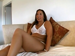 Brilliant peerless partition chunky with long hair fingering their way shaved pussy is homemade porn