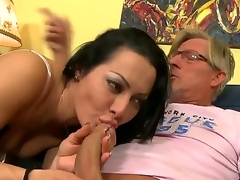 Sandra Romain is grizzle demand obedient step daughter pile up round her Dad resolves close by punish her giving a difficulty girl great prurient lesson where she sucks his dick pile up round then rides his cock