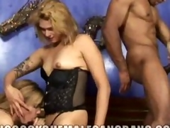 Hung Shemales Alongside a Passionate Orgy