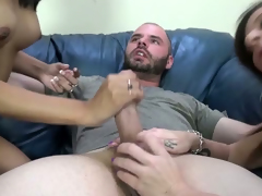 Lucky dude gets his horseshit polished by a duett of horny harlots