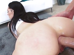 Marley Brinx butt fucked and jizzed on complexion in POV