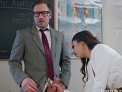 Hot arse student gets ravished doggystyle by the brush teacher