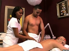 Blonde masseuse from Texas oils him up and they give-away spots on the table
