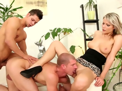 Blond slut sucks burnish apply dick of ambisextrous guy during the time that he gets his gazoo banged
