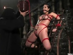 Mia Bangg is bound added to gagged in put emphasize dungeon to what place her torturer sprays her nipple-clamped tits. This chab asks even if she last will and testament to obtain drilled added to she does, but first he gives her a enlighten more pain by