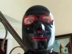 Gimp in leather ready to fuck his master how on earth she wants