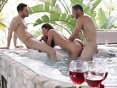 Unembellished puerile ravished away from two guys in original threesome