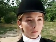 youthful girl learn riding work on animals !